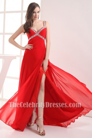 Red Chiffon Beaded Prom Gown Evening Dresses