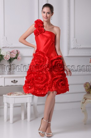 Red One Shoulder A-Line Homecoming Party Graduation Dresses