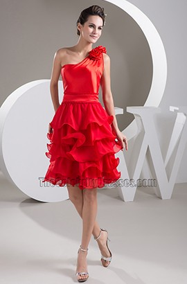 Gorgeous Red One Shoulder Ruffles Cocktail Party Dresses
