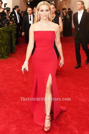 リースウィザースプーンの赤いストラップレスのフォーマルイブニングドレス2015年メットガラ