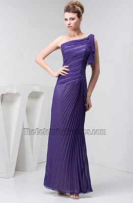 Regency One Shoulder Chiffon Ruffles Prom Bridesmaid Dress