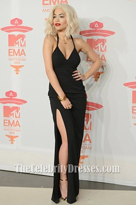 Rita Ora Sexy Black Evening Dress 2013 MTV EMAs Celebrity Gowns