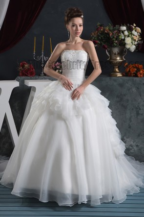 Romantic Strapless Embroidered Beaded Ball Gown Wedding Dresses