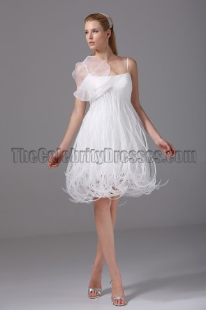 Rormantic Short Spaghetti Straps Cocktail Wedding Dresses