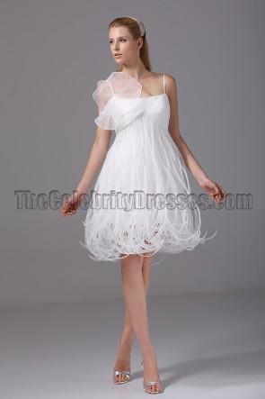 Rormantic Short Spaghetti Straps Cocktail Wedding Dresses