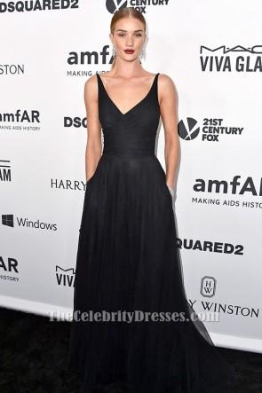 Rosie Huntington-Whiteley ロージー・ハンチントン - ホワイトリー 黒のAラインフォーマルイブニングドレス2015 amfARのインスピレーションガラ