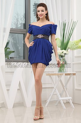 Royal Blue Mini Off-the-Shoulder Party Homecoming Dresses