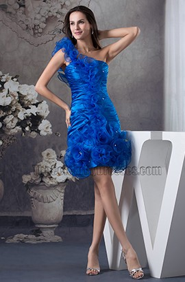 Royal Blue One Shoulder Short Party Homecoming Dresses
