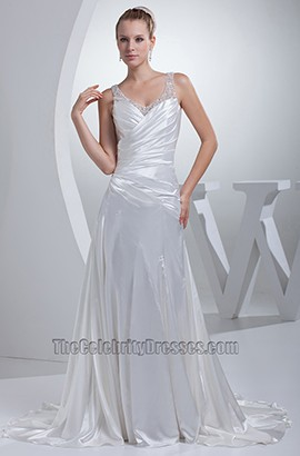 Sexy A-Line Silk Like Satin V-Neck Wedding Dress Bridal Gown