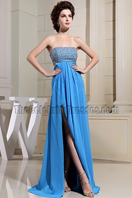 Sexy Blue Backless Sequined Prom Gown Evening Dresses