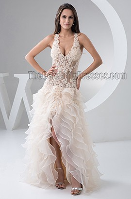 Sexy Champagne Backless High Low Bridal Gown Wedding Dress