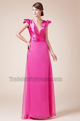 Sexy Fuchsia Deep V-neck Prom Gown Evening Formal Dresses
