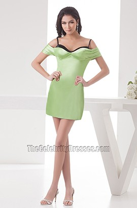 Sexy Green Satin Off-The-Shoulder Mini Party Homecoming Dresses