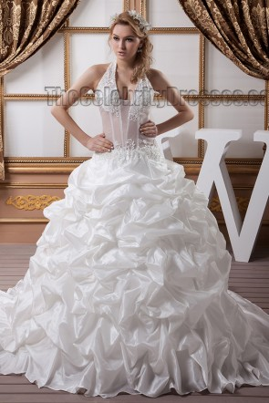 Sexy Halter Embroidered A-Line Chapel Train Wedding Dresses