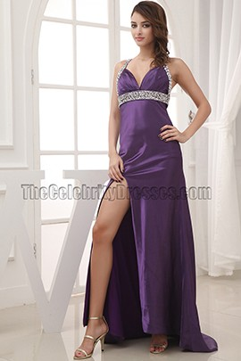 Celebrity Inspired Purple Backless Evening Gown Prom Dresses