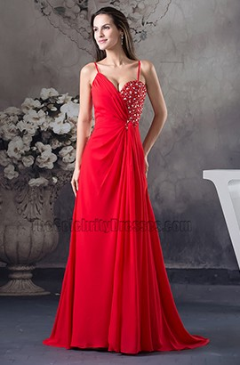 Sexy Red Chiffon Prom Dress Evening Gown With Beading