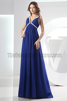 Sexy Royal Blue V-neck Prom Dress Evening Formal Dresses