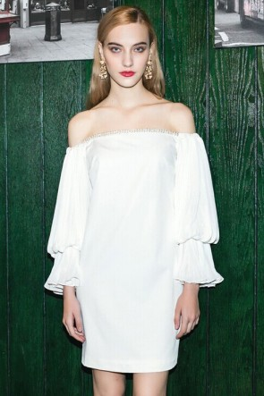 Sexy Short White Off-the-Shoulder Party Cocktail Dresses TCDT6808
