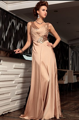 Sexy V-Neck Beaded Evening Formal Dresses Prom Gown