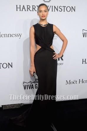 Shanina Shaikブラックノースリーブイブニングドレス2015 amfAR New York Gala