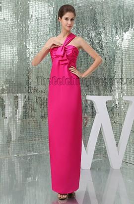 Sheath/Column Fuchsia One Shoulder Prom Gown Evening Dress