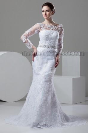Sheath/Column Lace Long Sleeve Beaded Wedding Dresses
