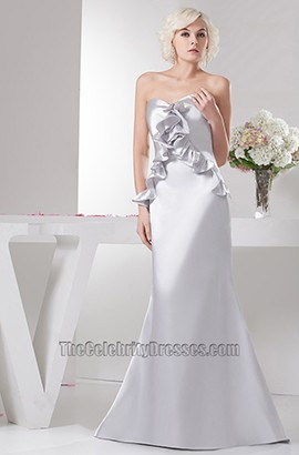 Sheath/Column Silver Strapless Bridesmaid Prom Evening Dresses