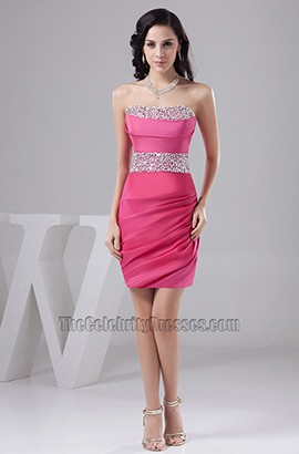 Sheath/Column Strapless Beaded Cocktail Party Homecoming Dresses