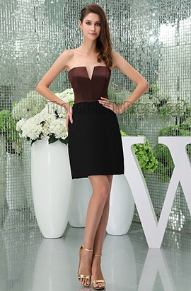 Brown And Black Strapless Party Cocktail Homecoming Dresses