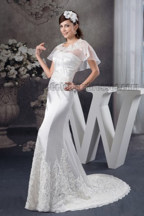 Sheath/Column Sweetheart Strapless Embroidered Wedding Dresses