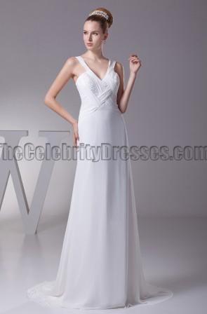 Sheath Column V-Neck Chiffon Wedding Dresses