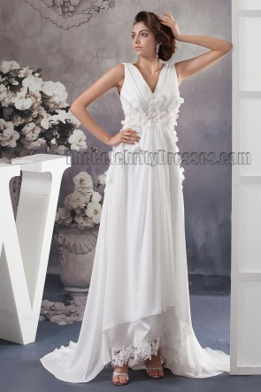 Sheath/Column V-Neck Sweep/Brush Train Wedding Dress Bridal Gown
