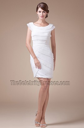 Sheath /Column Ruffles White Party Cocktail Graduation Dresses