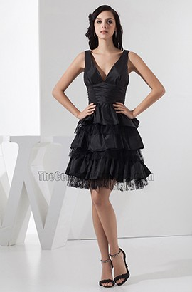 Short A-Line Black Taffeta Organza Party Homecoming Dress