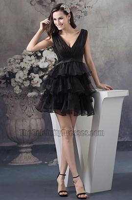 Short Black Organza V-Neck Party Homecoming Dresses