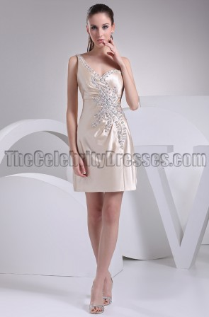 Short Champagne One Shoulder Beaded Party Graduation Dresses