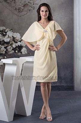 Short Daffodil Chiffon V-Neck Graduation Party Dresses