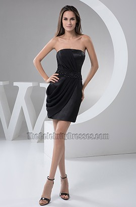 Celebrity Inspired Mini Black Strapless Party Homecoming Dresses