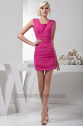 Short /Mini Fuchsia Chiffon Party Graduation Cocktail Dresses