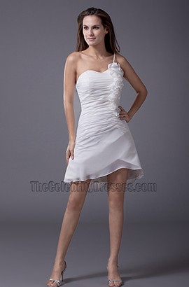 Chic Short Mini One Shoulder Wedding Dress Party Dresses