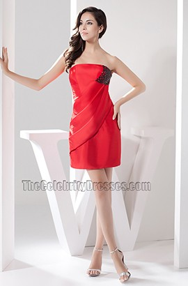 Short Mini Red Strapless Party Cocktail Dress With Black Beads