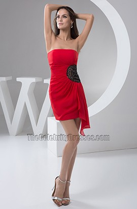 Short/ Mini Beaded Red Strapless Party Homecoming Dresses