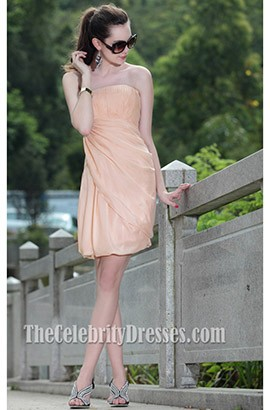Short Strapless Chiffon Homecoming Party Graduation Dress 82689