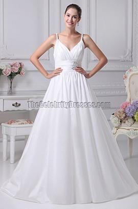 Simple A-Line Taffeta Wedding Dress Bridal Gown