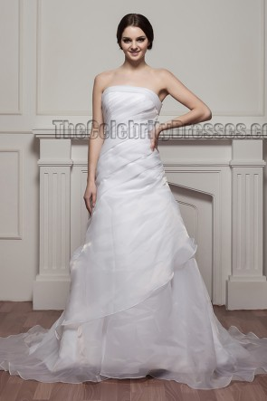 Simple Strapless A-Line Organza Wedding Dresses