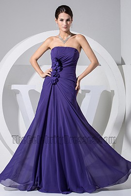 Simple Strapless A-Line Chiffon Prom Gown Evening Formal Dress