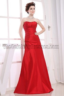 Elegant Red Strapless Formal Evening Prom Dresses