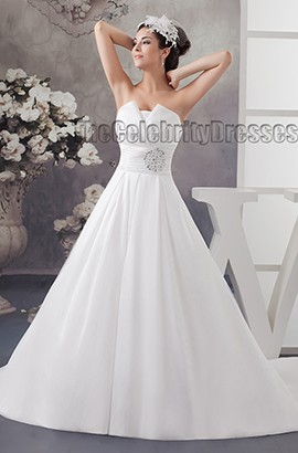 Simple Strapless Taffeta A-Line Chapel Train Wedding Dresses