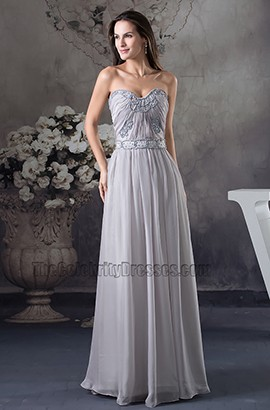 Sliver Strapless Prom Dress Evening Gown With Beading