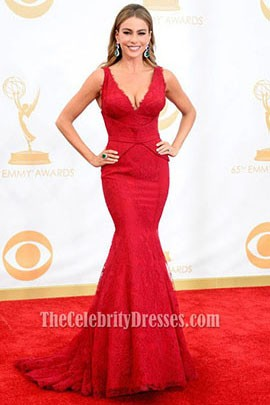 Sofia Vergara Red Mermaid Formal Dress 2013 Emmy Awards Red Carpet